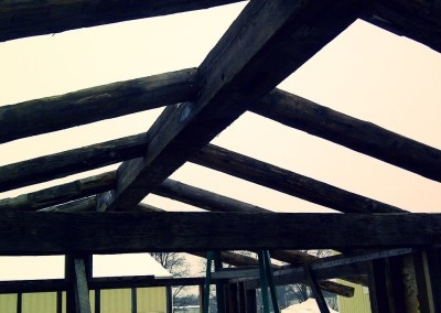 Reclaimed wood in house roof