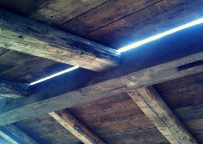 Reclaimed wood house roof