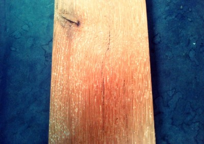 Yellow reclaimed wood piece