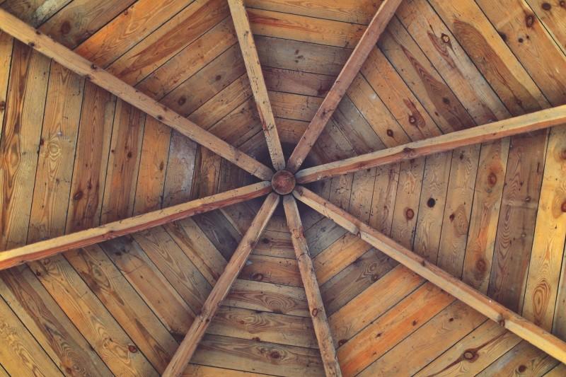 Reclaimed barn timber frames for ceiling